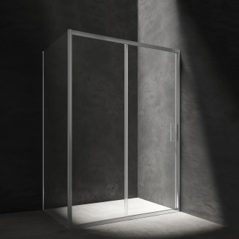 rectangular shower enclosure with sliding door, 140 x 90 cm