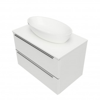 wall hung vanity unit, 76 x 46 cm, with worktop and basin Marble+