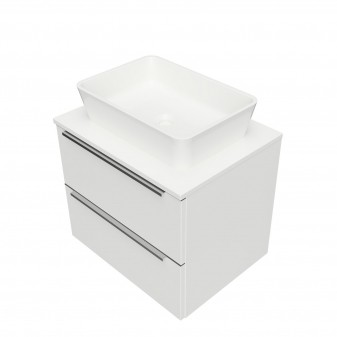 wall hung vanity unit, 60 x 46 cm, with worktop and basin Marble+