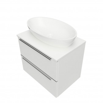 wall hung vanity unit, 60 x 42 cm, with worktop and basin Marble+