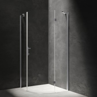 quadrant shower enclosure with hinged door, 90 x 90 cm