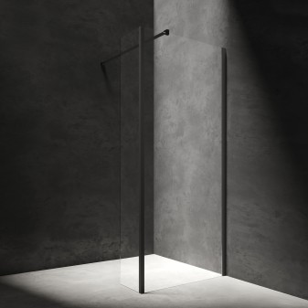 walk-in shower enclosure with side wall, 100 x 30 cm