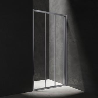 three-panel sliding shower door, 80 cm