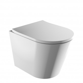 rimless wall-mounted toilet with soft-close seat, 52 x 36 cm