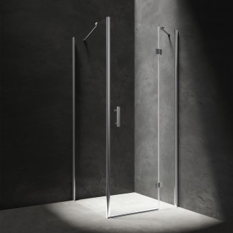 square shower enclosure with hinged door, 100 x 100 cm