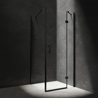 square shower enclosure with hinged door