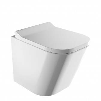 rimless wall-mounted toilet with soft-close seat, 49 x 35 cm