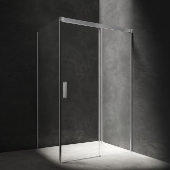 rectangular shower enclosure with sliding door, 120 x 100 cm
