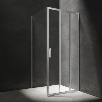 square shower enclosure with sliding door, 80 x 80 cm