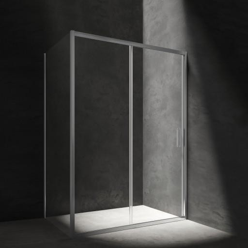 rectangular shower enclosure with sliding door, 140 x 90 cm